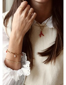 A LA - Armband Statement with red and cream beads