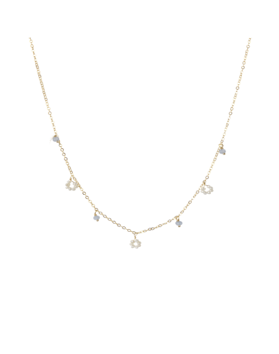 A LA - Ketting Flower freshwater pearl / small stones lila