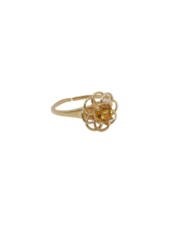 A LA - Ring ''Vintage gold'' open flower Yellow Citrine