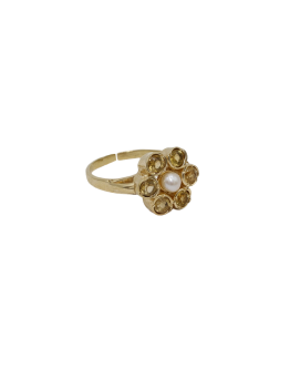 A LA - Ring ''Vintage gold'' Ollie flower Yellow citrine