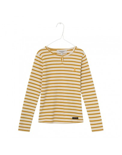 A MONDAY - Longsleeve Beau - Buttercream stripe