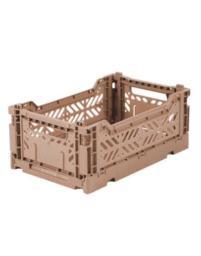 AYKASA - Folding crate Small - Warm taupe