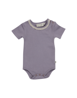 BLOSSOM KIDS - Body short sleeve with lace - Soft rib - Lavender Gray