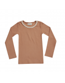 BLOSSOM KIDS - Long sleeve rib with lace- Deep Toffee