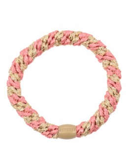 BonDep - Knekki haarelastiek Faded rose beige glitter stripe