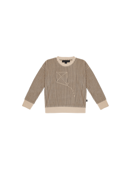 HOUSE OF JAMIE - Crewneck Sweater Charcoal Sheer Stripes
