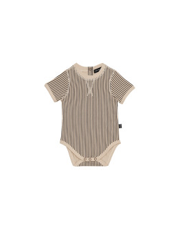 HOUSE OF JAMIE - Crewneck Bodysuit - Charcoal Sheer Stripes
