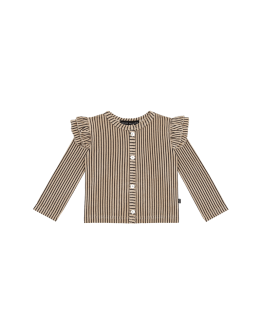 HOUSE OF JAMIE - Girls Cardigan - Charcoal Sheer Stripes