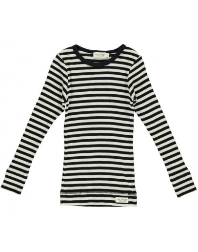 MARMAR COPENHAGEN - Longsleeve Modal Stripes Tee - Black/Off white