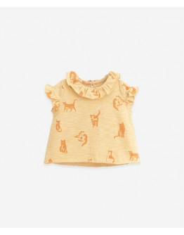 PLAY UP - Baby girl - T shirt with Cats print - Straw