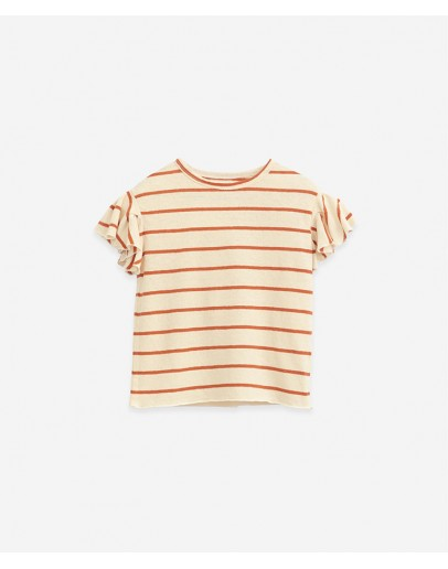 PLAY UP - Girl Organic cotton and linen T-shirt  Striped| Botany